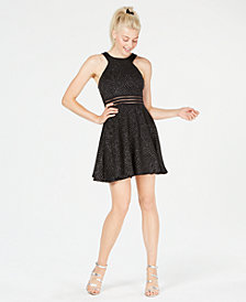 City Studios Juniors' Glitter Illusion Fit & Flare Dress, Created for Macy's