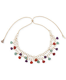 "lonna & lilly Gold-Tone Multicolor Bead Adjustable 32"" Statement Necklace"