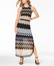 Laundry by Shelli Segal Tassel-Trim Pointelle Maxi Dress