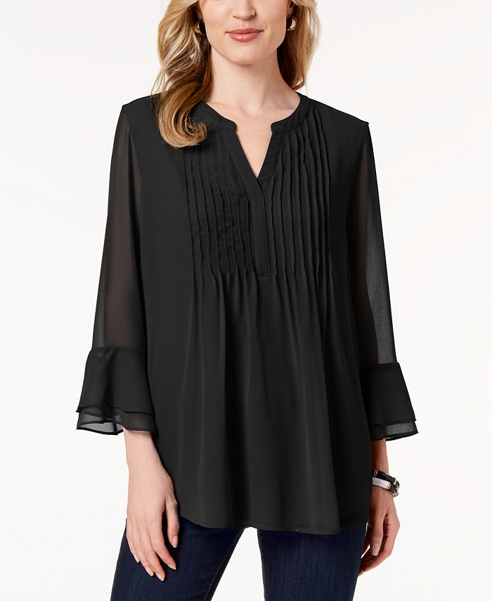 Charter Club - Pleated Sheer Blouse