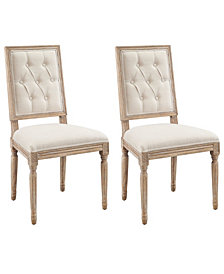 Reese Square Back Tufted Dining Chairs, Set of Two