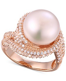 Freshwater Pearl (12mm) & Cubic Zirconia Statement Ring in Sterling Silver