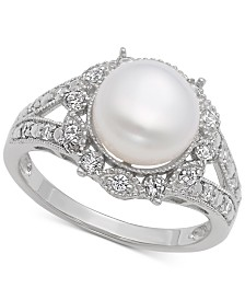 Freshwater Pearl (9mm) & Cubic Zirconia Ring in Sterling Silver
