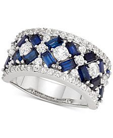 Simulated Sapphire (2-1/2 ct. t.w.) & Cubic Zirconia Statement Ring in Sterling Silver