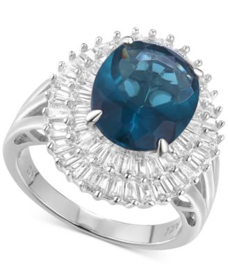 Cubic Zirconia Simulated London Blue Topaz Baguette Statement Ring in Sterling Silver