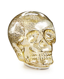 CLOSEOUT! Martha Stewart Collection Halloween LED Silver Glass Skull, Created for Macy's