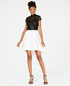 B Darlin Juniors' Sequined-Lace Contrast Dress
