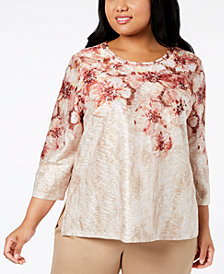 Alfred Dunner Plus Size Sunset Canyon Embellished 3/4-Sleeve Top