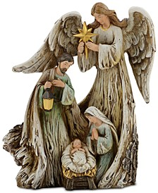 Woodcut Guardian Angel with Holy Family