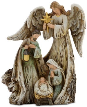 Napco Woodcut Guardian Angel with Holy Family
