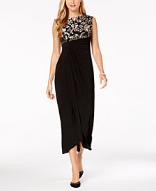 Connected Petite Embroidered Faux-Wrap Gown