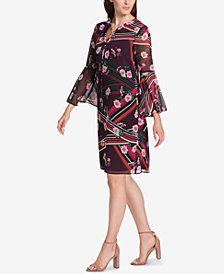 Vince Camuto Floral Tassel-Tie Bell Sleeve Shift Dress