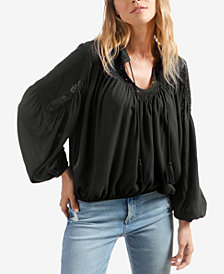 Lucky Brand Crochet Peasant Blouse