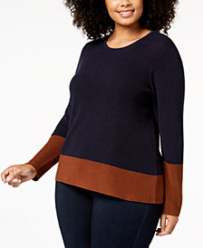 Eileen Fisher Plus Size Colorblocked Sweater