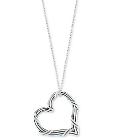 "Open Heart 20"" Pendant Necklace in Sterling Silver"