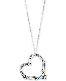 "Peter Thomas Roth Open Heart 20"" Pendant Necklace in Sterling Silver"