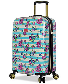 "Betsey Johnson Hummingbird 20"" Hardside Expandable Carry-On Spinner Suitcase"