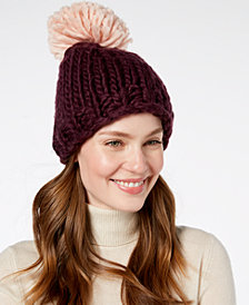 BCBGeneration Contrast Pom Pom Everyday Beanie, Created for Macy's