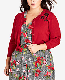 City Chic Trendy Plus Size Embroidered Cropped Cardigan