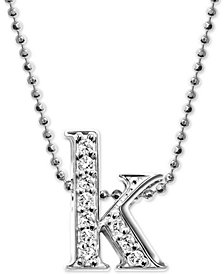 "Alex Woo Diamond Initial ""k"" 16"" Pendant Necklace (1/8 ct. t.w.) in 14k White Gold"