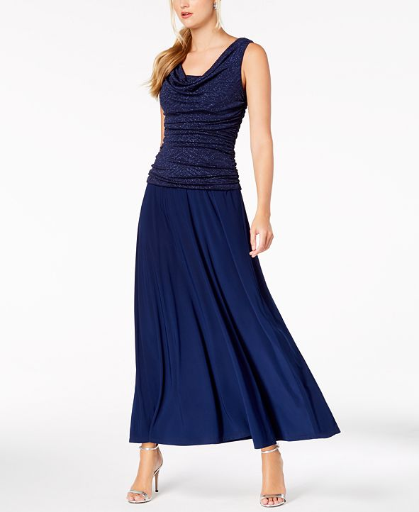 R & M Richards Ruched Glitter Gown