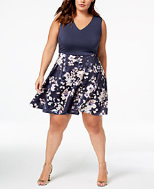 City Studios Trendy Plus Size Floral-Print A-Line Dress