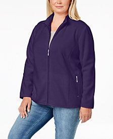 Karen Scott Plus Size Zip-Front Fleece Jacket, Created for Macy's