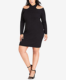 City Chic Trendy Plus Size Cold-Shoulder Bodycon Dress