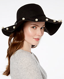 Betsey Johnson Imitation Pearl-Talk Floppy Hat