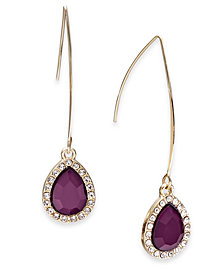 I.N.C. Gold-Tone Teardrop Stone Wire Drop Earrings, Created for Macy's