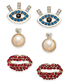 Thalia Sodi Gold-Tone 3-Pc. Set Imitation Pearl, Crystal Eyes, & Lips Stud Earrings, Created for Macy's