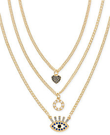 "Thalia Sodi Gold-Tone Crystal & Imitation Pearl Layered Pendant Necklace, 18""/20""/24"" + 3"" extender, Created for Macy's"
