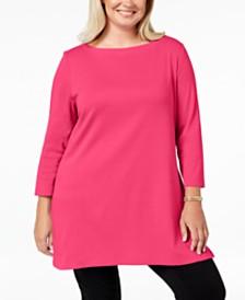 5c6122e6673b2 Karen Scott Plus Size Cotton Tunic Top