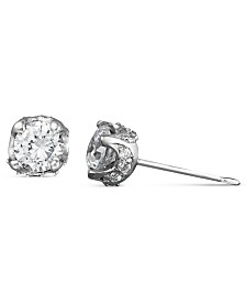 Pave Diamond Stud Earrings in 14k White Gold (1/2 ct. t.w.)