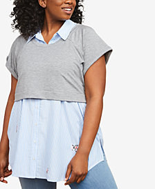 Motherhood Maternity Plus Size Layered-Look Nursing Top