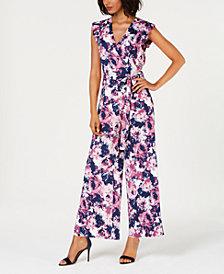 Monteau Petite Floral-Print Split-Leg Jumpsuit