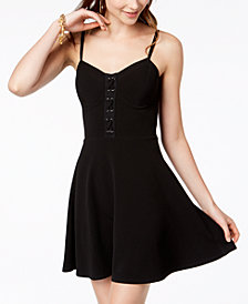 Material Girl Juniors' Lace-Up Fit & Flare Dress, Created for Macy's