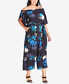 City Chic Trendy Plus Size Electric Rose Printed Off-The-Shoulder Jumpsuit