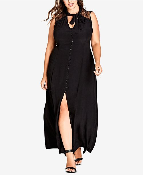 City Chic Trendy Plus Size Button-Front Maxi Dress & Reviews ...