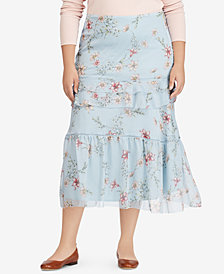 Lauren Ralph Lauren Plus Size Floral-Print A-Line Maxiskirt