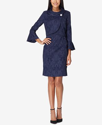 Tahari Asl Asymmetrical Jacquard Dress Suit Wear To Work Women