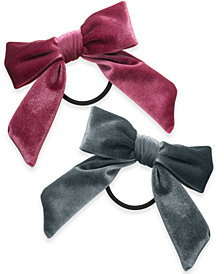 I.N.C. 2-Pc. Set Velvet Bow Ponytail Holders, Created for Macy's