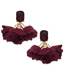 I.N.C. Gold-Tone Mesh-Covered Stone & Fabric Flower Drop Earrings, Created for Macy's