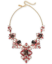 "I.N.C. Gold-Tone Stone & Lace Statement Necklace, 16"" + 3"" extender, Created for Macy's"
