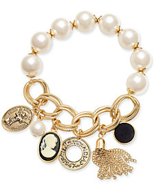I.N.C. Gold-Tone Cameo Multi-Charm Imitation Pearl Stretch Bracelet, Created for Macy's