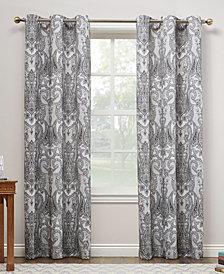 "CLOSEOUT! Lichtenberg No. 918 Liliana 48"" X 95"" Paisley Damask Print Casual Textured Grommet Curtain Panel"