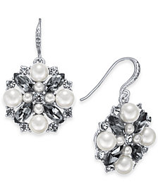 Charter Club Silver-Tone Imitation Pearl & Crystal Cluster Drop Earrings, Created for Macy's