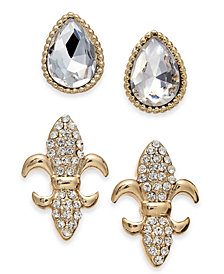 Charter Club Gold-Tone 2-Pc. Set Crystal Stud Earrings, Created for Macy's