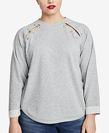 RACHEL Rachel Roy Trendy Plus Size Pierced Sweatshirt