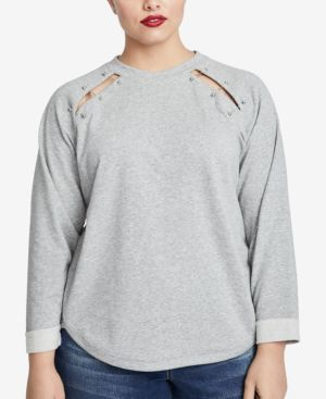 Henry Hardware-Embellished Cutout Sweatshirt, Created For Macy'S, Heather Grey